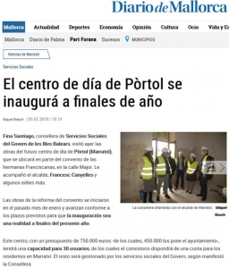 Aitana ACS Noticia El Diario de Mallorca Centro de Día Pòrtol