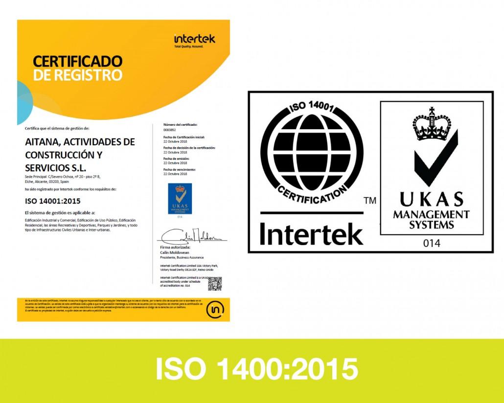 Certificado Ambiental ISO 14001 Aitana ACS