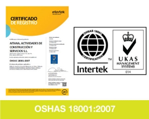 Certificados Calidad OSHAS 18001 Aitana ACS