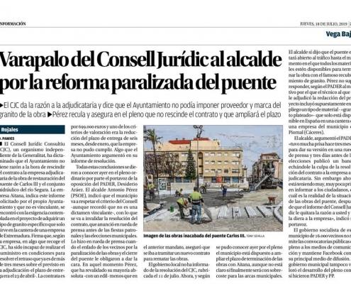 Artículo del Diario Informacion Sobre el Dictamen del CJC obra Puente Carlos III de Rojales