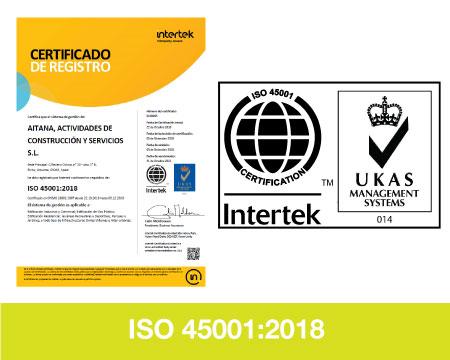 Certificado Calidad ISO45001-AITANA ACS